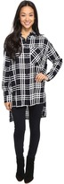 Brigitte Bailey Jessi Long Sleeve Plaid Top Women's Clothing