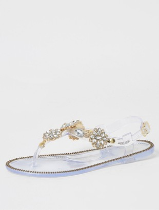 River Island Girls Diamante EmbellishedToe Post Sandals - Clear