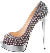 Christian Louboutin Lady Peep Spiked Pumps