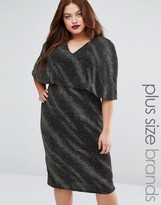 Club L Plus Midi Dress In Glitter Galaxy With Cape Overlay