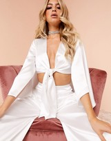 Asos Design DESIGN Luxe cape back knot crop top co-ord in ivory