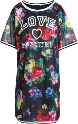 Love Moschino Floral-print Stretch-mesh Mini Dress