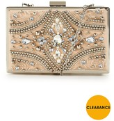 Forever Unique Jewel Embellished Hard Box Clutch