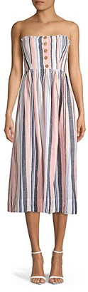 Free People Lilah Strapless Striped Midi Dress