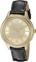 GUESS GUESS? Women's U0840L1 Dressy Gold-Tone Watch with Gold Dial , Crystal-Accented Bezel and Genuine Leather Strap Buckle