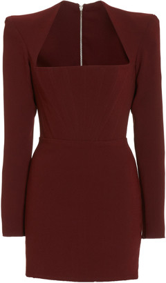 Alex Perry Benison Square-Neck Crepe Mini Dress