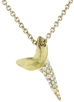 Finn Large Mako Tooth Necklace with Diamonds - Yellow Gold