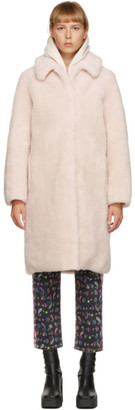Yves Salomon Meteo Pink Shearling Long Coat