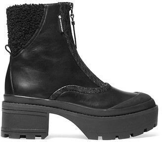 MICHAEL Michael Kors Channing Lug-Sole Faux Shearling-Trimmed Leather Combat Boots