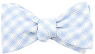 Tie Bar Mesh Plaid Light Blue Bow Tie