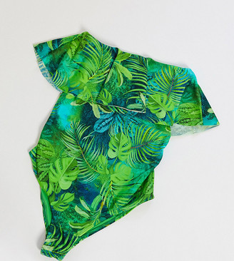 ASOS DESIGN maternity bandeau minimal frill swimsuit in exotic palm print