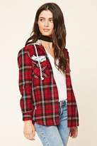 Forever 21 FOREVER 21+ Patched Hooded Flannel Shirt