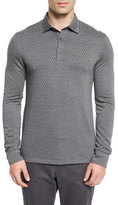 Ermenegildo Zegna Flannel Herringbone Long-Sleeve Polo Shirt, Gray