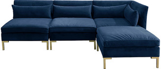 One Kings Lane Marceau Reversible Sectional - Navy Velvet