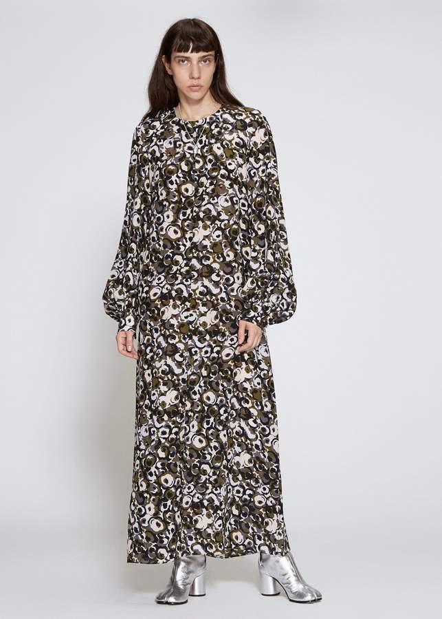 Marni Long Sleeve Silk Crepe Dress