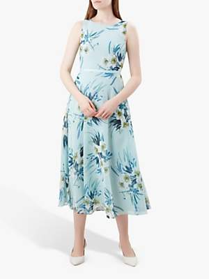 Hobbs Carly Floral Print Midi Dress, Blue
