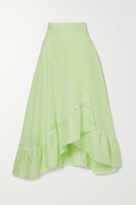 Miguelina Marika Tiered Crochet-trimmed Linen Midi Skirt - Green