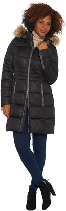 Nuage Stretch Puffer Coat with Removable Hood & Faux Fur