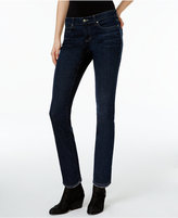 Eileen Fisher Organic Cotton Washed Indigo Frayed-Hem Ankle Jeans