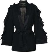 Alberta Ferretti frill belted knitted coat - women - Virgin Wool - 42