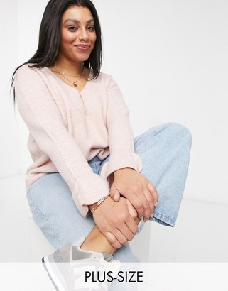 Vero Moda Curve jumper with v neck and ruffle sleeves in pink marl