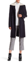 Tibi Esquire Coating Genuine Sheep Fur Wool Blend Carcoat