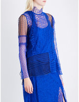 3.1 Phillip Lim Contrast-panel high-neck lace shirt
