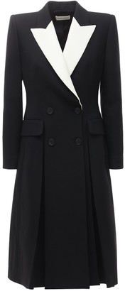 Alexander McQueen Two Tone Cool Wool & Silk Tailored Coat