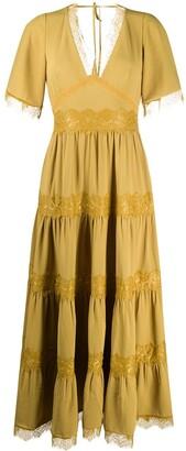 AllSaints Lace-Panel Maxi Dress