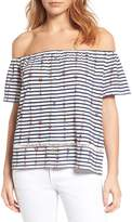 Lucky Brand Off-the-Shoulder Stripe Blouse