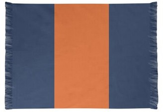 Detroit Striped Midnight Navy/Orange Area Rug East Urban Home Non-Skid Pad Included: No