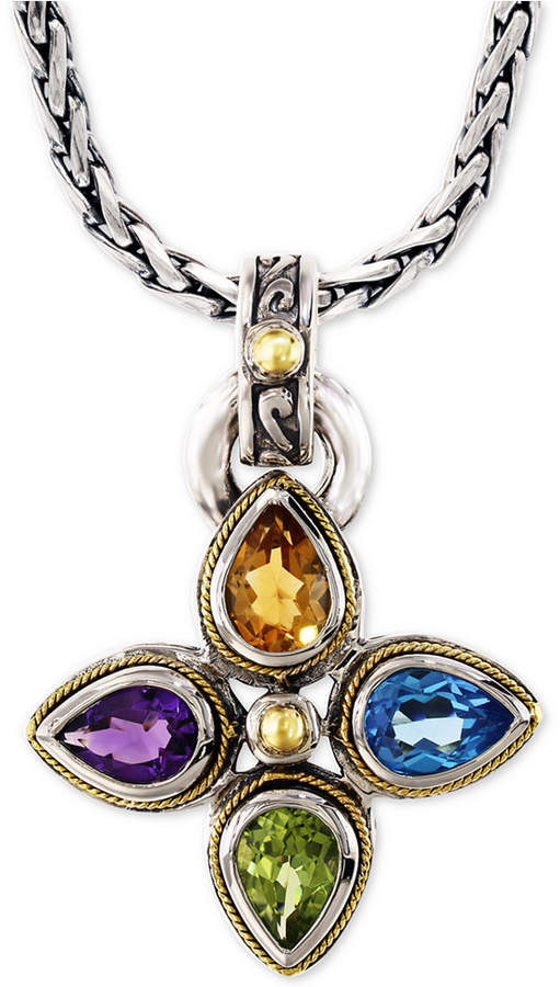 """Effy Multi-Gemstone Pendant Necklace (6-3/8 ct. t.w.) 18"""" Pendant Necklace in Sterling Silver & 18k Gold"""