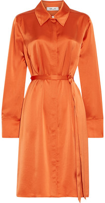 Diane von Furstenberg Zello Belted Satin Shirt Dress