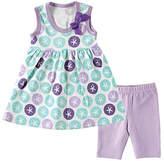 Hudson Baby Mint & Lavender Sand Dollar Dress & Crop Leggings - Infant