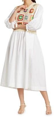 Sea Crochet Combo Puff-Sleeve Midi Dress