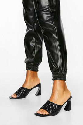 boohoo Quilted Square Toe Low Heel Mules