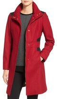 Via Spiga Wool Blend Coat with Faux Leather Trim (Regular & Petite)