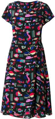 Emporio Armani sea print midi dress