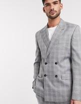 Asos DESIGN slim double breasted suit jacket in grey broken check