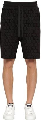 Dolce & Gabbana Flocked Logo Cotton Blend Track Shorts