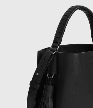 AllSaints Shirley Small North South Leather Tote Bag