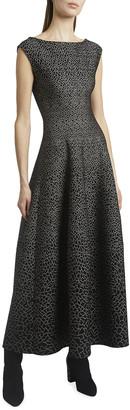 Alaia Sleeveless Metallic Jacquard Midi Flare Dress
