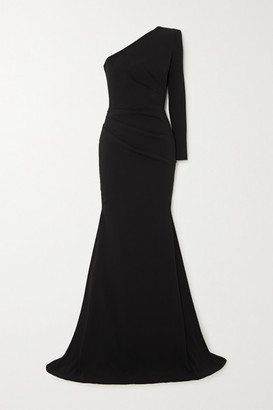Alex Perry Alden One-shoulder Gathered Crepe Gown - Black