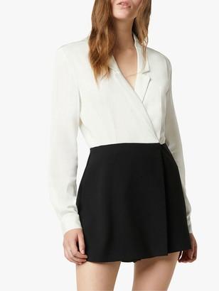 French Connection Chinaza Drape Tuxedo Playsuit, Summer White/Black