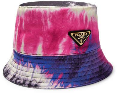 Prada Tie-dyed Cotton-canvas Bucket Hat - Pink