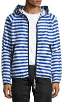 G Star G-Star Strett Striped Hooded Zip-Front Jacket with Gym Bag, Blue/White