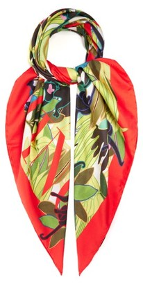 Valentino Monkey And Logo-print Silk Scarf - Womens - Orange Print