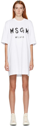 MSGM White Artist Logo T-Shirt Dress