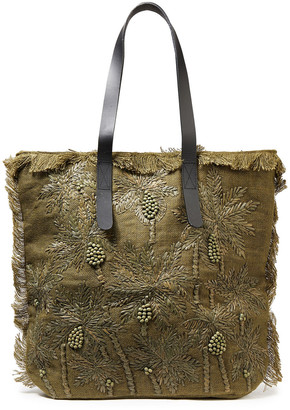 Antik Batik Barry Large Leather-trimmed Embroidered Raffia And Jute Tote