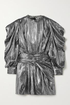 IRO Odell Draped Lame Mini Dress - Gunmetal